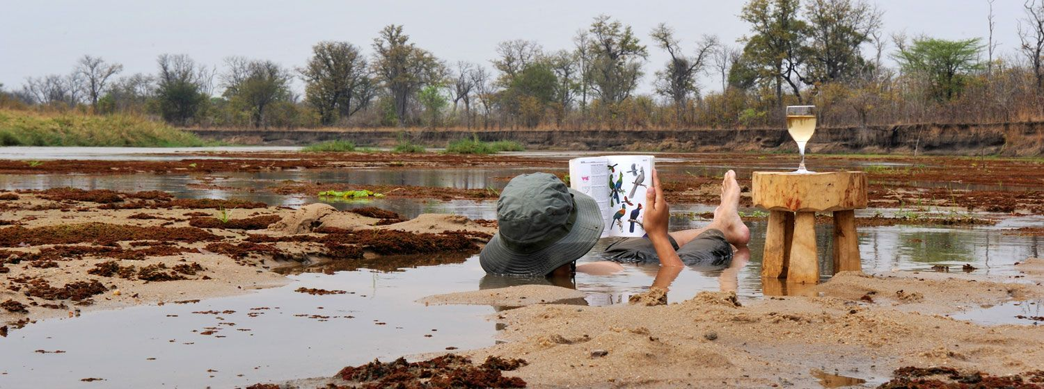 Brushing up on birds while cooling off in the Mwaleshi River © Remote Africa Safaris