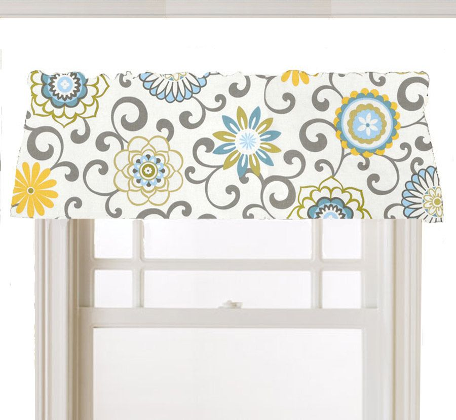 blue kitchen valance ge artistry window topper mod flowers gray white yellow light