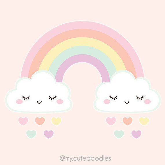 Cute Weather Clipart Pastel Rainbow Clipart Kawaii Cloud Clipart