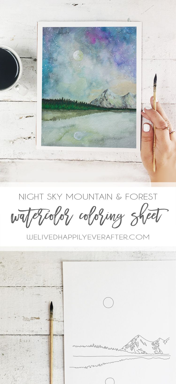 Freebie Adult Coloring Sheet Mountain Galaxy Watercolor Printable
