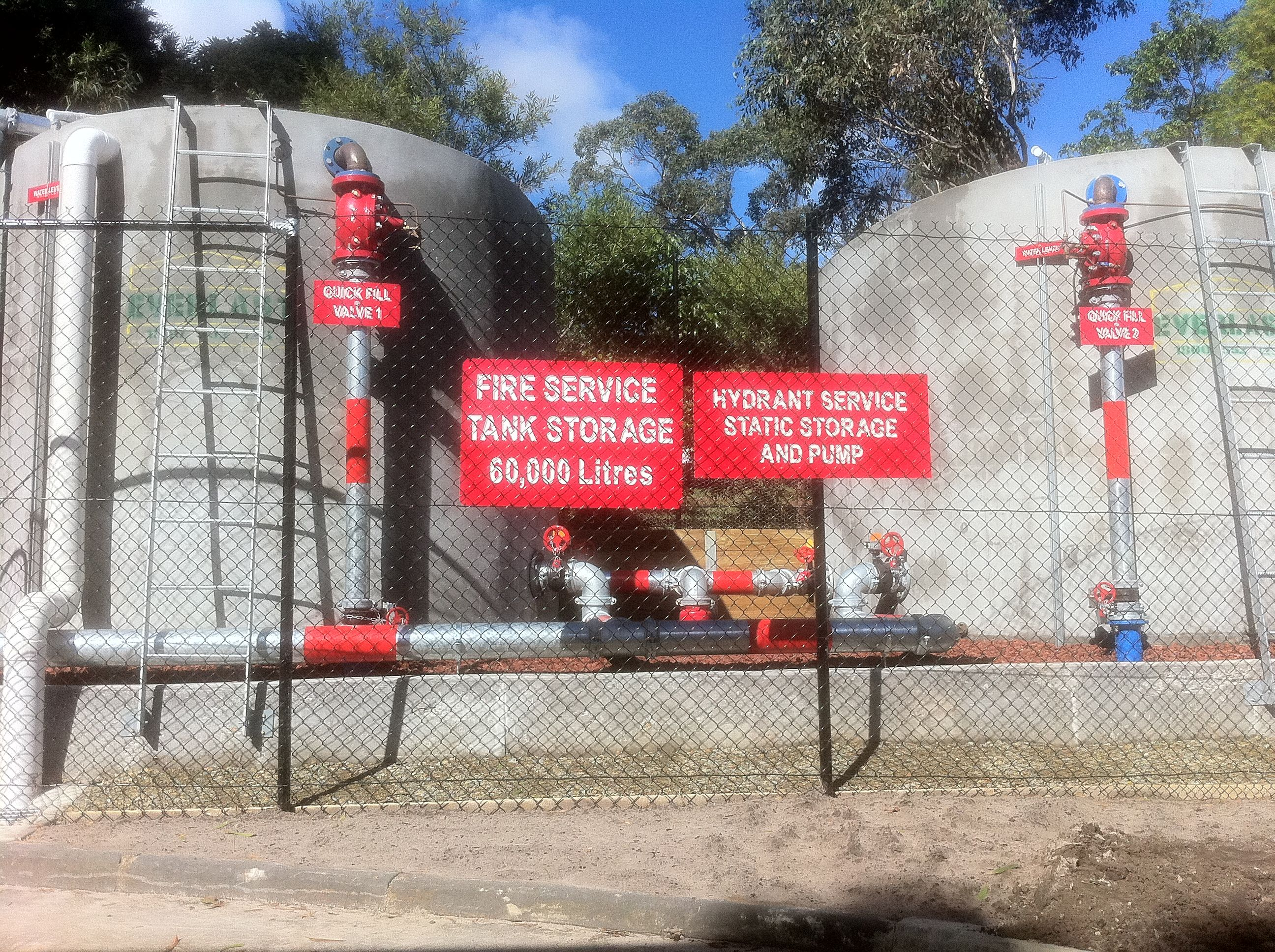 Fire water storage tanks fire service plumbing water