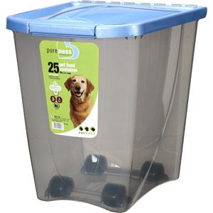 pet food storage container dogs cats airtight bin rolling wheels 25 pound new - Dog Food Containers