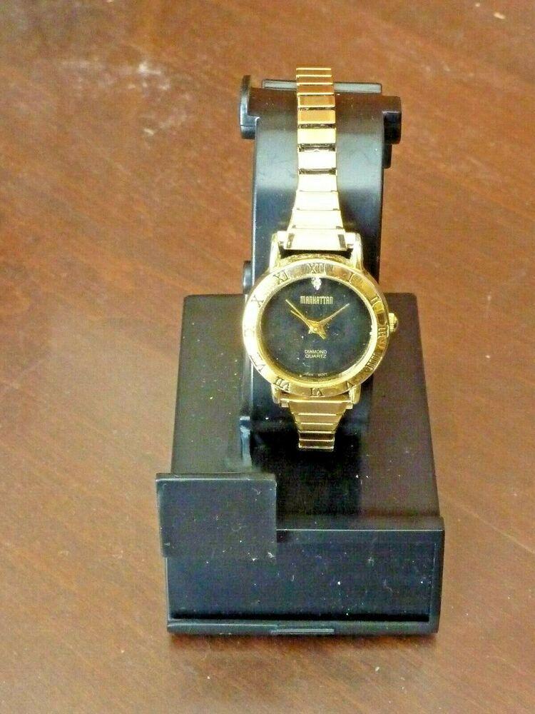 Manhattan Diamond Quartz Women S Gold Tone Watch Speidel Band C9 63