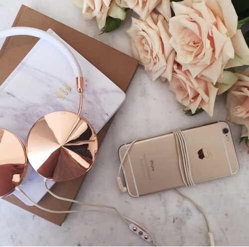 Image via We Heart It artsy flowers goals gold headphones