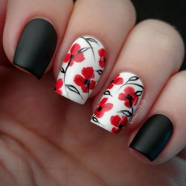 Black, White and Red Flower Nail Art Design. ****I used green for the  leaves. Turned out very pretty**** - 45+ Pretty Flower Nail Designs Pinterest WINS Pinterest Nail