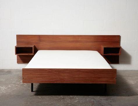 Mid Century Teak Bedside Tables Drawers Bedhead Retro Vintage Danish ...