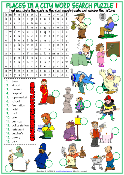 places in a city word search puzzle esl worksheets for kids english. Black Bedroom Furniture Sets. Home Design Ideas
