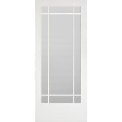 Masonite 36 In X 84 In Prairie Primed 9 Lite Solid Wood Interior Barn Door Slab Primed White In 2020 Wood Interiors Interior Barn Doors Glass Pantry Door