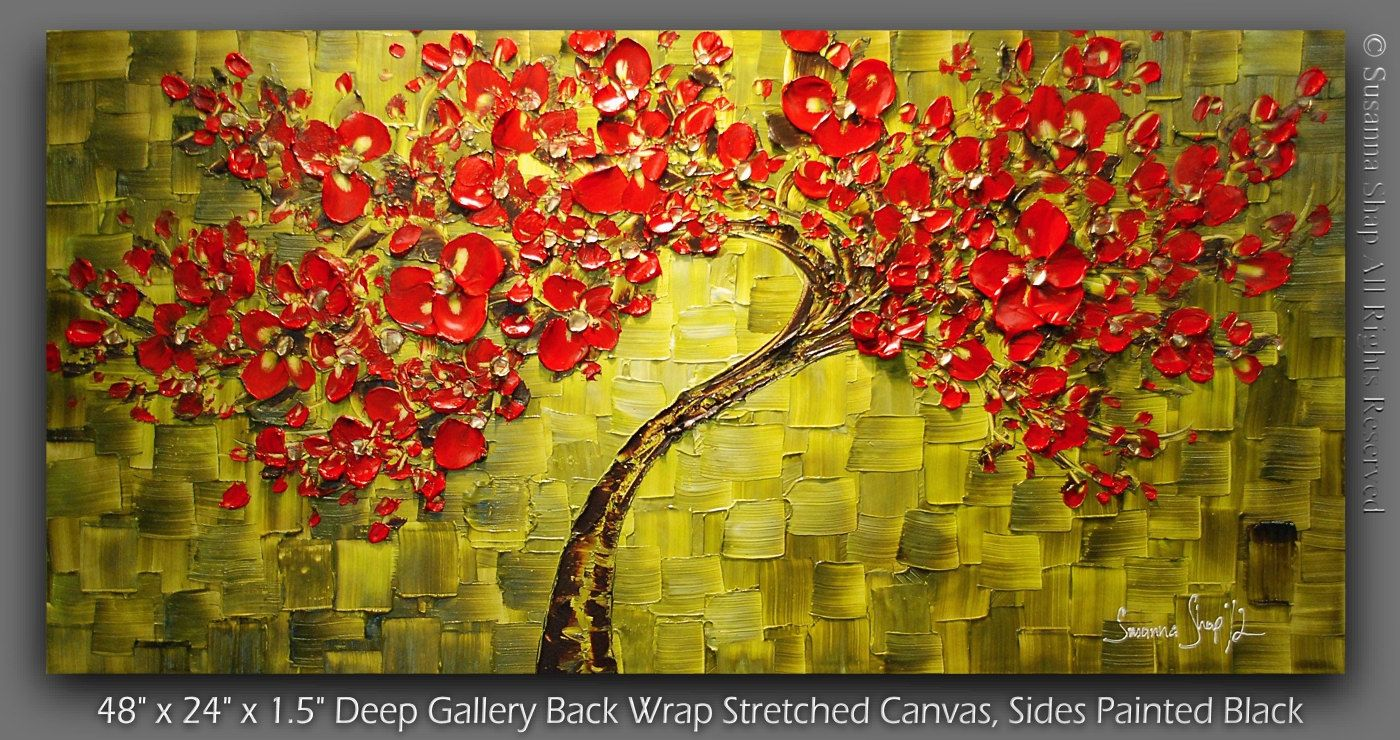 Original Large Abstract Green Red Cherry Blossom Tree Oil Painting Thick Texture Gallery Fine Art By Susa Large Abstract Red Cherry Blossom Cherry Blossom Tree