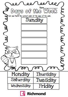 Activities - Cut and paste the correct order of the days of the week ...