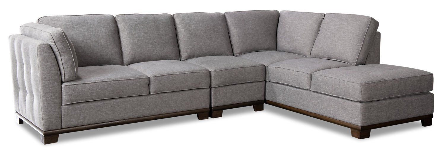 Oakdale 3 Piece Linen Look Fabric Right Facing Sectional Light Grey Sectional Fabric Sofa Fabric Ottoman