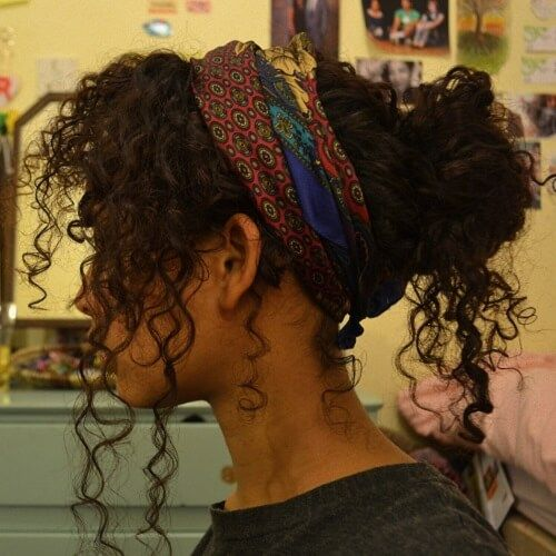 Scarf Hairstyles for Naturally Curly Hair #curlyhairstyles