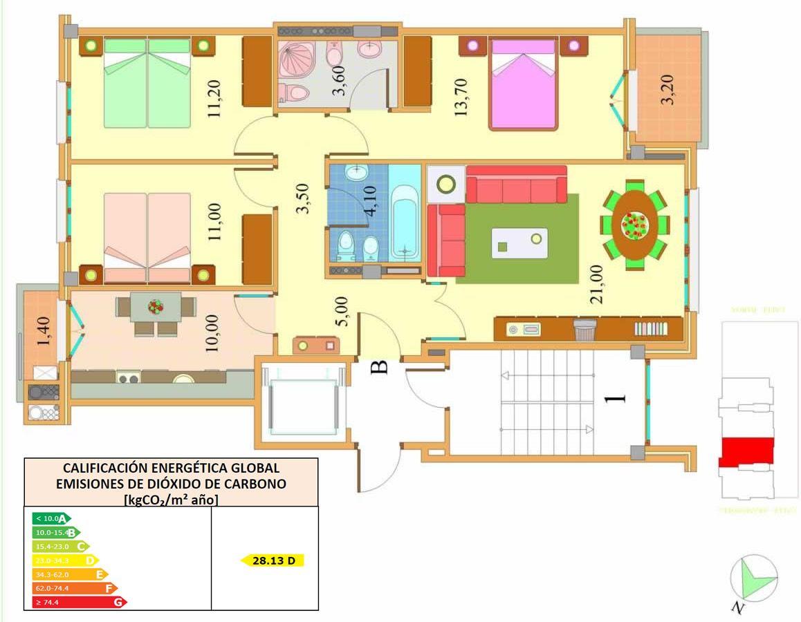 Piso Tres Habitaciones Planos Viviendas Pinterest Plano  ~ Programa Para Hacer Planos De Viviendas