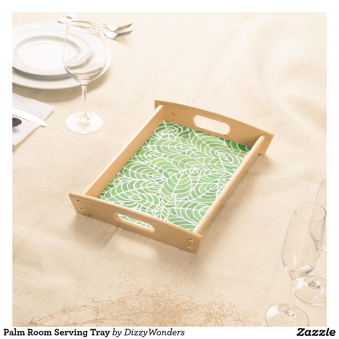 Palm Room Serving Tray - A hand painted watercolour design inspired by the Palm Room, Kibble Palace in Glasgow. The leaves are a fresh green - in tones of the 2017 Pantone of the Year - Greenery. This would be great to brighten interiors, bringing the outdoors in. Serve breakfast in bed for a fresh start to the day.