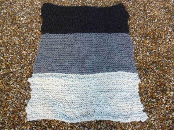 Couverture tricotée main rustique jet tricot par HootersHall