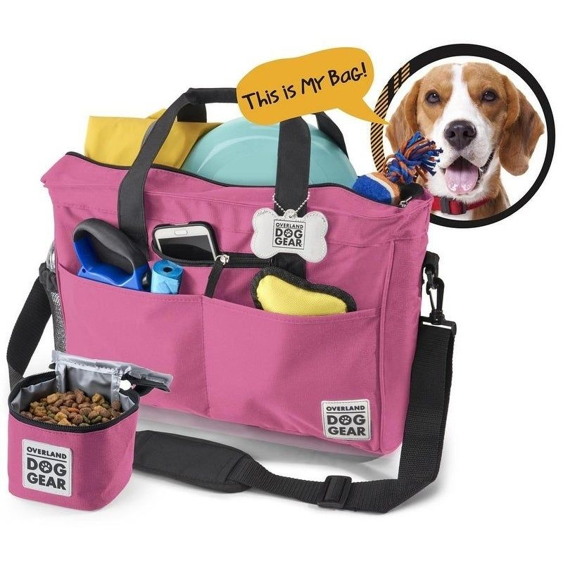 Overland Dog Gear Day Away Tote Bag Pink Dog Travel Bag Dog