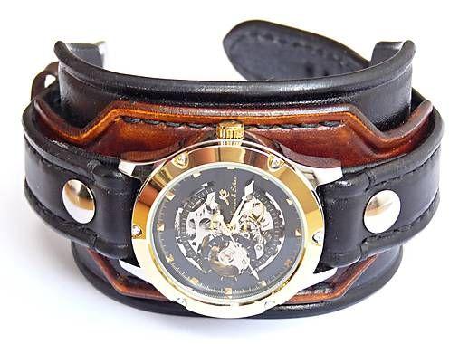 dc2389e22 Hnedo čierny kožený remienok s hodinkami KS / leon | Veci na ...