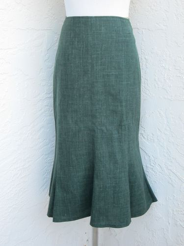 Steinbock Tyrol Austria Size 44 US Size 14 Green Virgin Wool Linen Skirt Lined | eBay