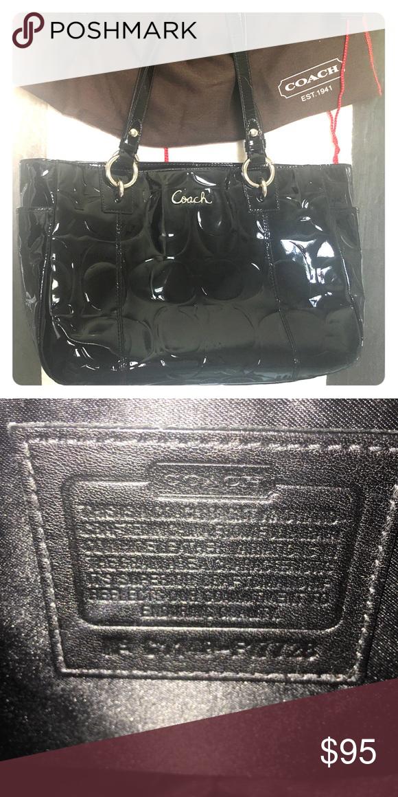 f1864b4d2d Authentic black patent leather Coach purse Gently used authentic Coach  black purse Coach Bags Shoulder Bags