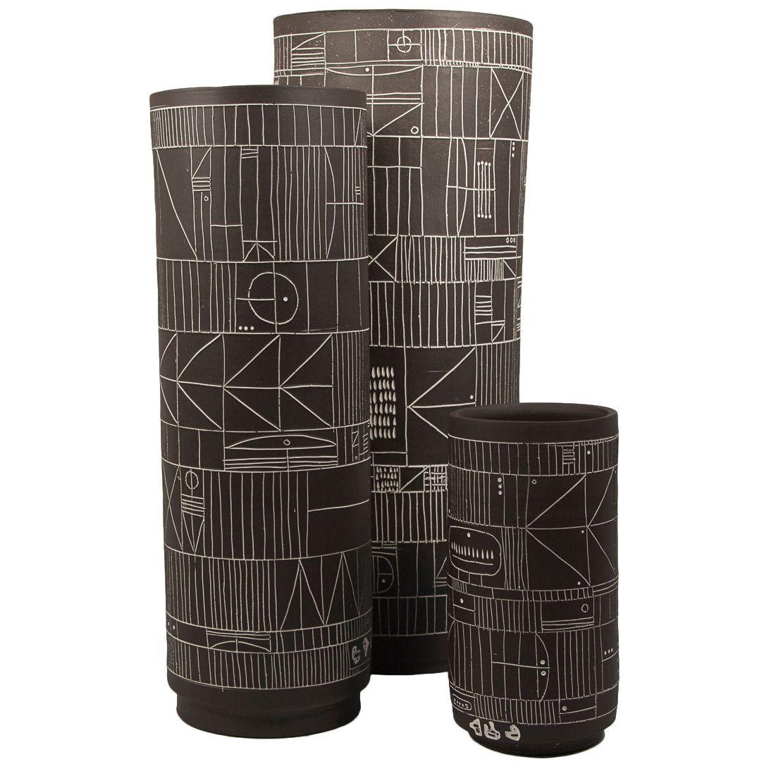 Trio of incised black ceramic cylinder vases by heather rosenman trio of incised black ceramic cylinder vases by heather rosenman reviewsmspy