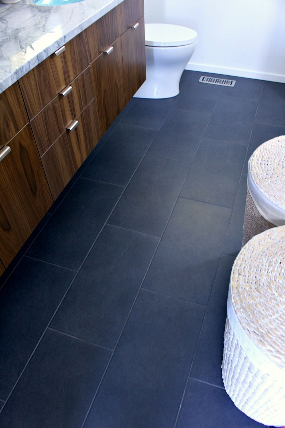 Huge Charcoal Ceramic Tile With Dark Grey Grout A Mid Century