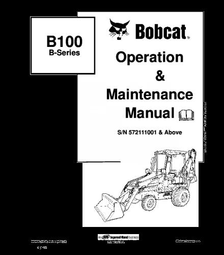 Bobcat b100 b series backhoe loader operation and