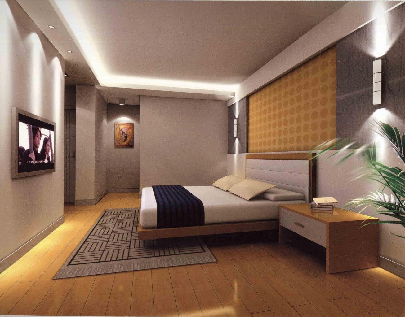 Master bedroom interior design - Awesome Master Bedroom Interior Design Ideas With Modern King Size Bed Fur Rug Flat Tv Screen
