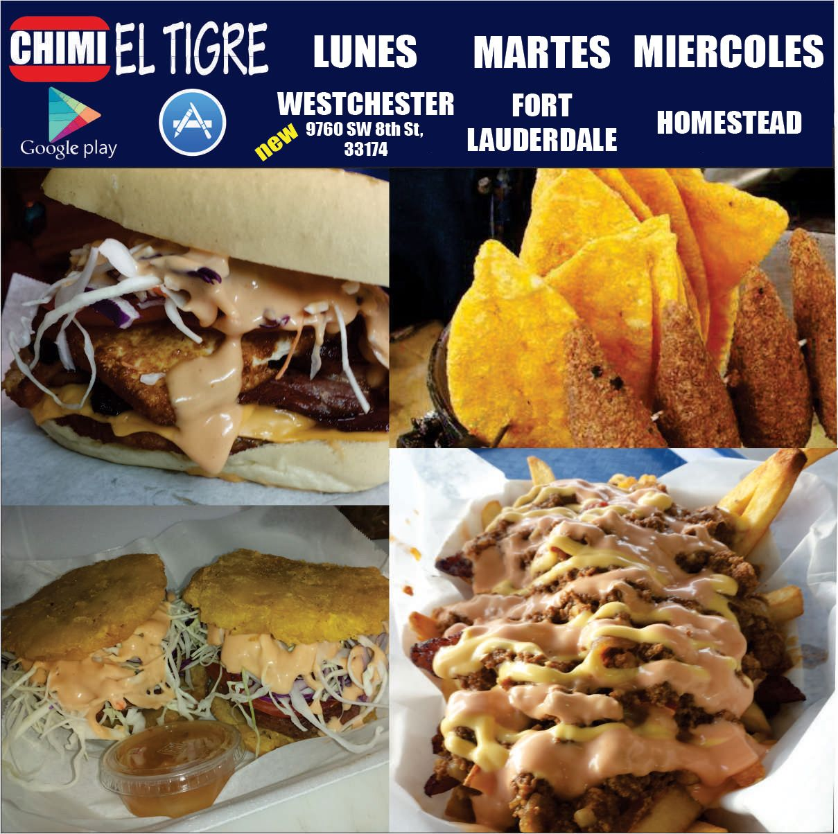 MARTES   - PLAZA 11AM-11PM    10834 SW 104th St, 33176  - Ft LAUDERDALE 6PM-12AM  8251 Sunset Strip 33322  Parqueo Bravo  #ChimiTigre #DominicanFood