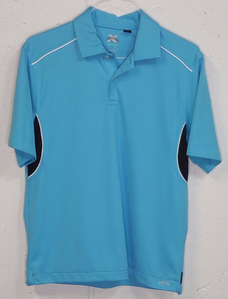 Callaway Golf X Series Mens Blue 100% Polyester Short Sleeve Polo Shirt Medium M #Callaway #PoloRugby
