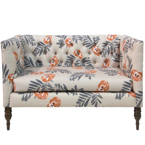 Bayer Mod Settee Tufted Chaise Lounge Floral Furniture Settee
