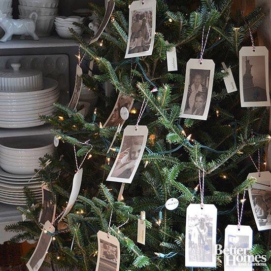 Old photo tree! Love this idea. Better Homes and Gardens