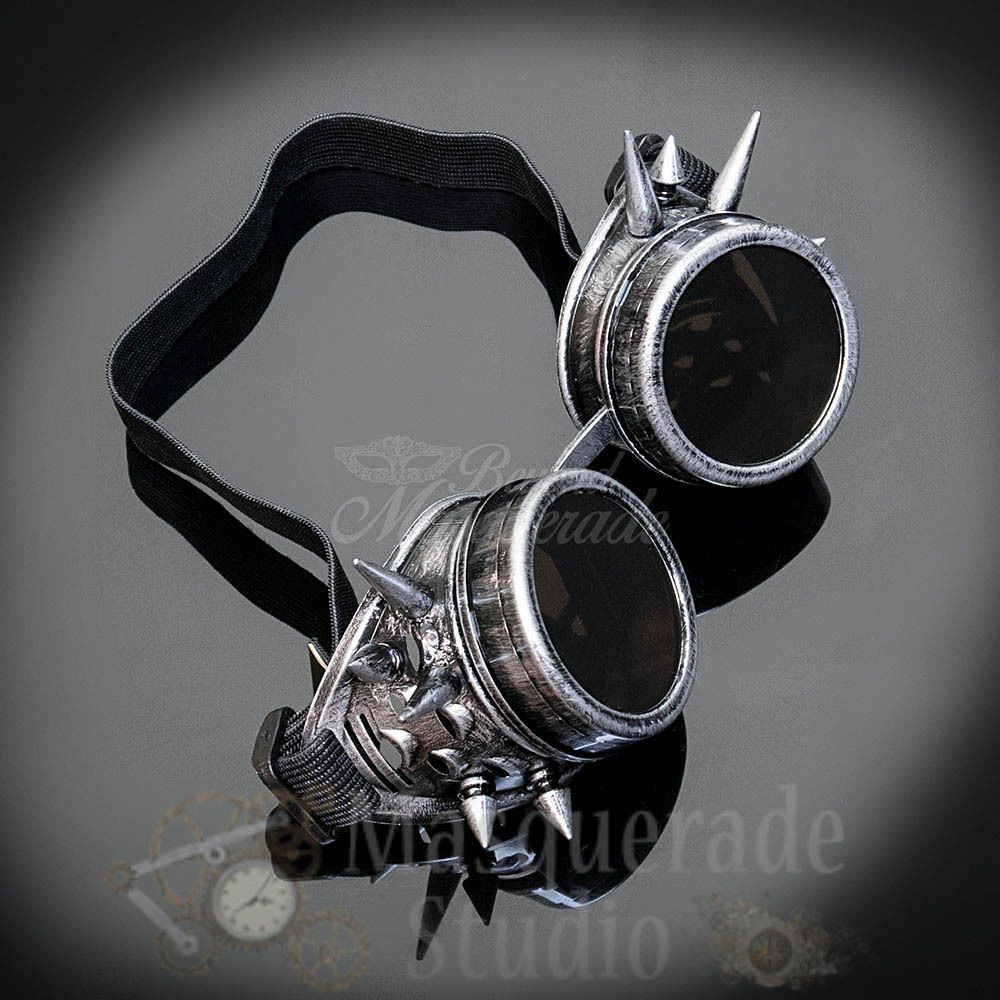 Black Mens Steampunk Spiked Welder Goggles Halloween Costume Masquerade Mask