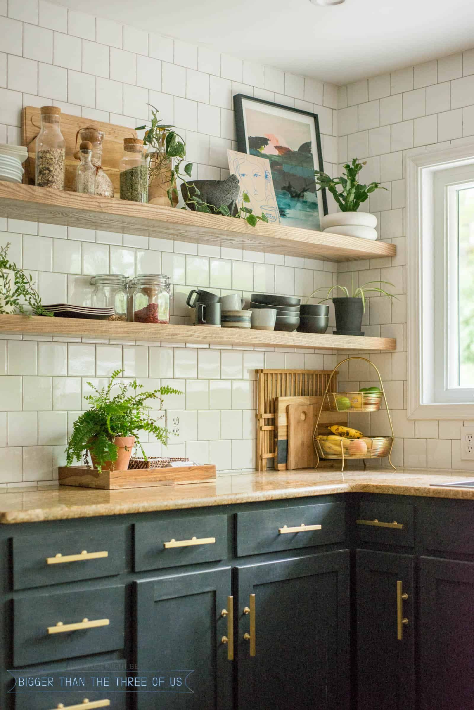 American Home Interior Diy Open Shelving Kitchen How To Mount A Floating Shelf How To H In 2020 Open Kitchen Cabinets Floating Shelves Kitchen Open Kitchen Shelves