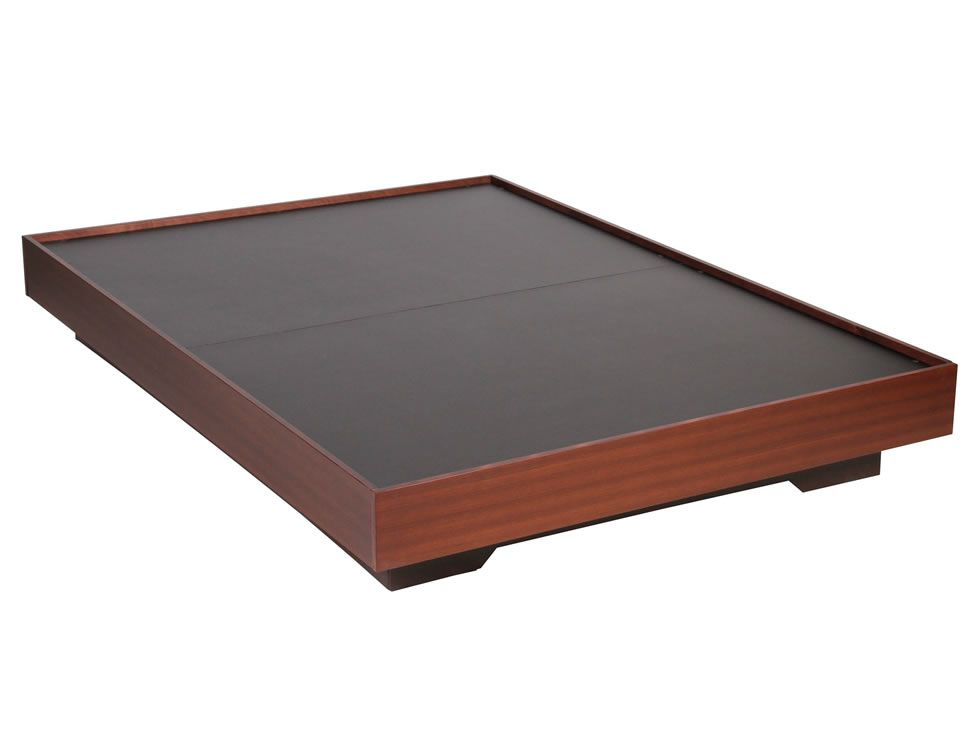 Base para cama matrimonial contempor nea chocolate for Como hacer una base de cama de madera