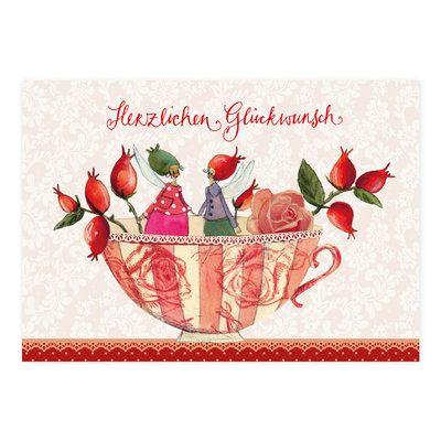 Postkarte Dream Cups - Herzlichen Glückwunsch #Grätz #SilkeLeffler