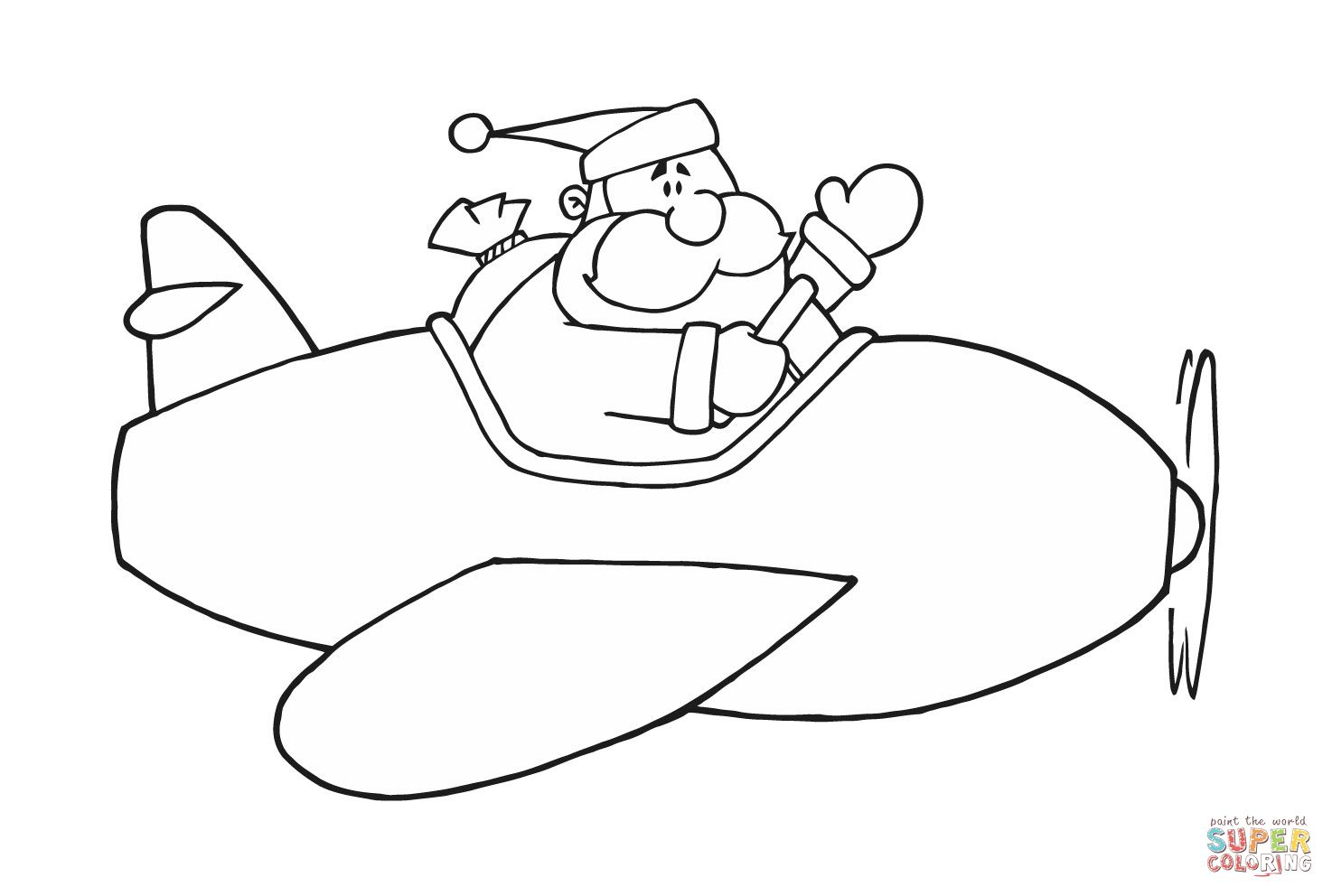 Santa In Airplane Coloring Page Supercoloring Com Airplane