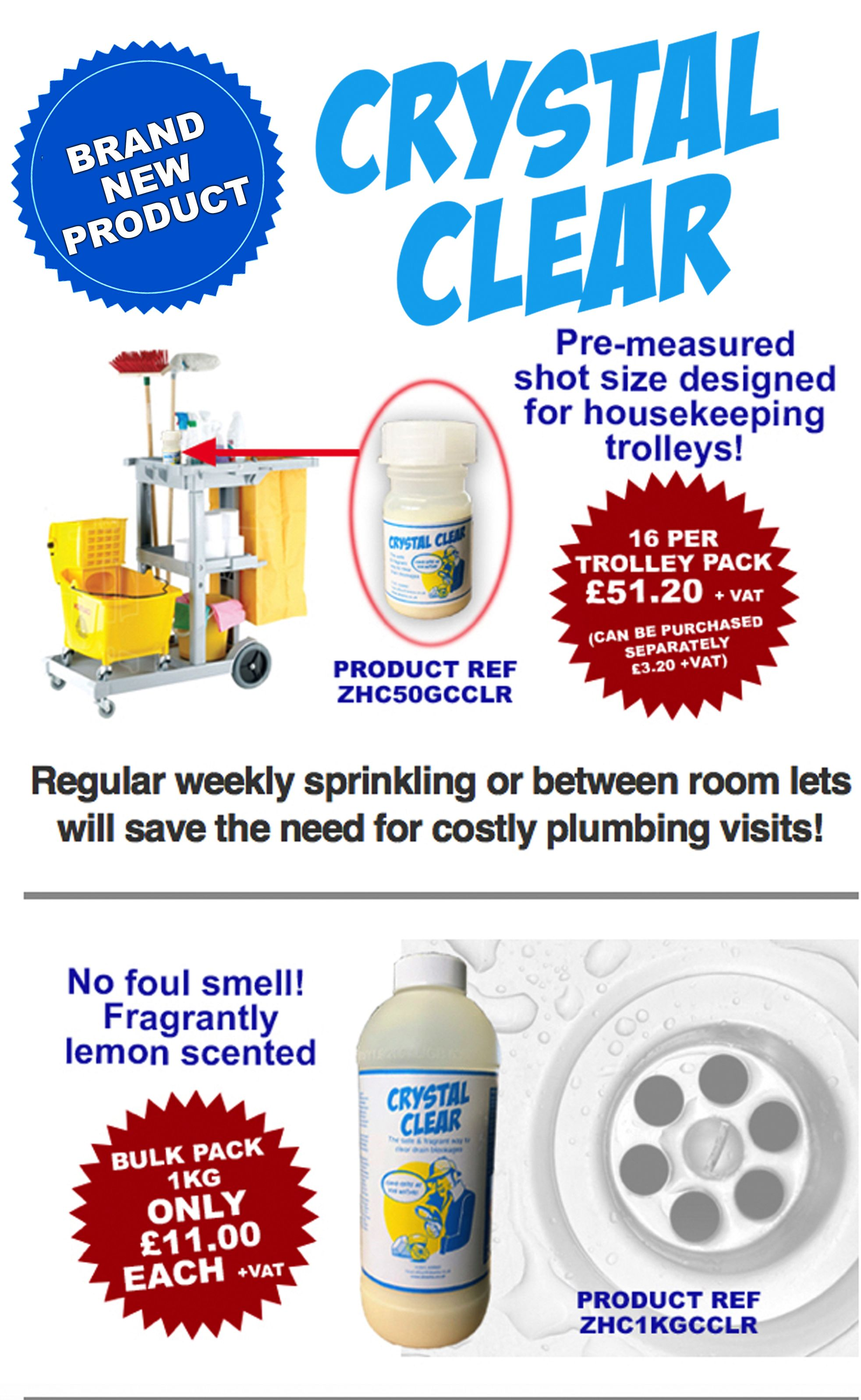 BRAND NEW PRODUCT Crystal Clear Drain Cleaner Lemon