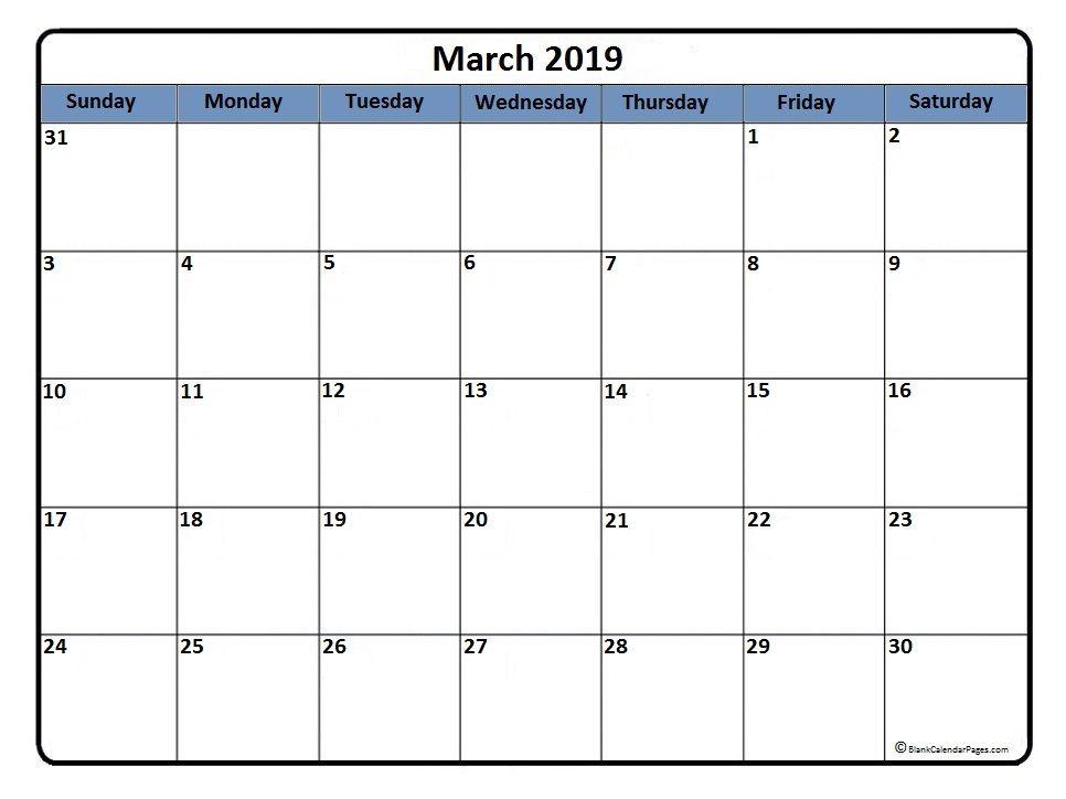 March 2019 Agenda Calendar Printables