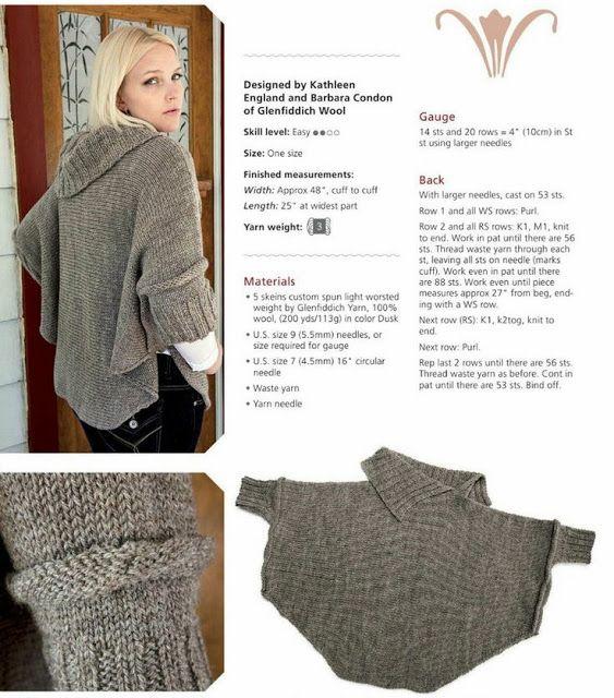knitting poncho pattern | Projekty do wypróbowania in 2018 ...