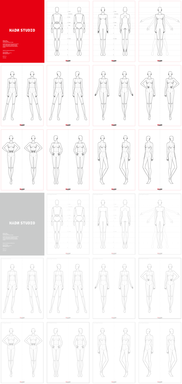 Fashion Figure, Fashion Pose Template (9Head) vol_02 : Fashion flats, Fashion Illustration, Fashion template   HYDNSTUDIO Fashion Design