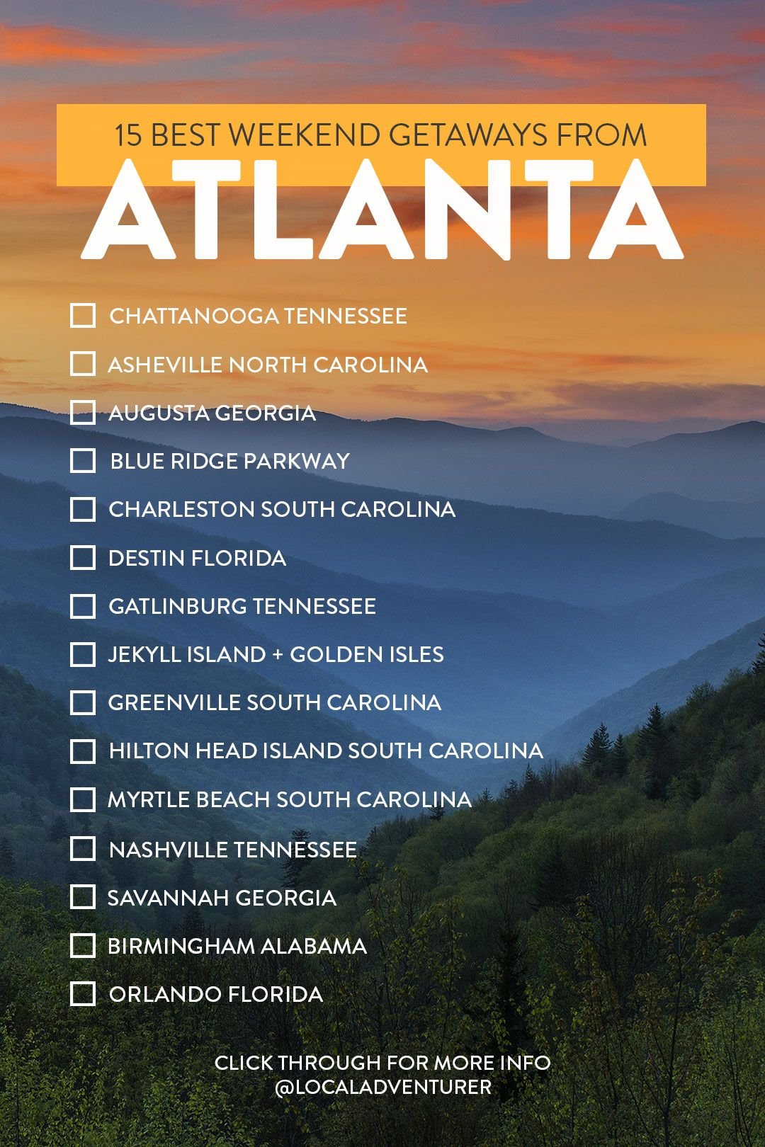15 Best Weekend Trips From Atlanta Georgia A Guide To Great Getaways Best Weekend Trips Georgia Vacation Georgia Travel