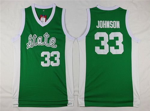 28f2ca2a NCAA Michigan State Spartans #33 Magic Johnson Green College Basketball  Swingman Jersey
