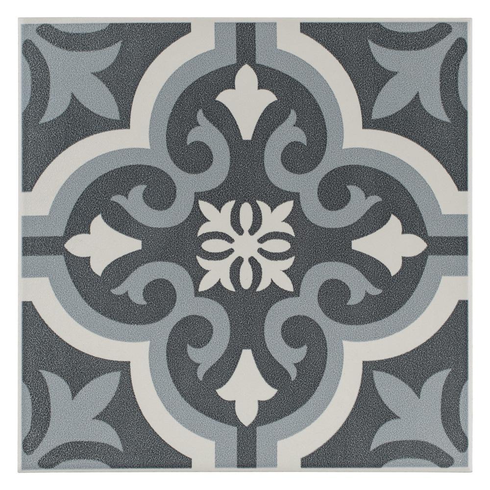 Merola Tile Braga Black Encaustic 7 3 4 In X 7 3 4 In Ceramic