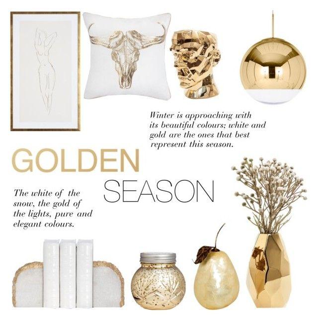 """Golden Season"" by c-silla ❤ liked on Polyvore featuring interior, interiors, interior design, home, home decor, interior decorating, Nate Berkus, H&M, Tom Dixon and Visionnaire"