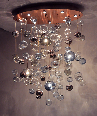 Picture of bubbles blown glass chandelier 550 a lit bubble the bubbles blown glass chandelier is a custom home lighting fixture made by bel vetro glass aloadofball Image collections