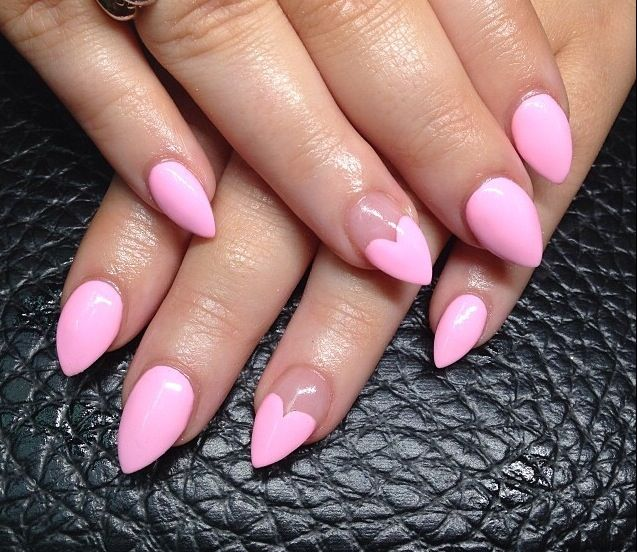 Simple Barbie Pastel Pink With Heart Shape Design Nail Stiletto