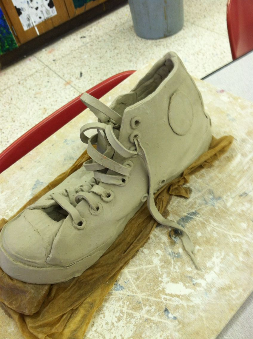 Clay slab shoe high school art project for Shoe sculpture ideas