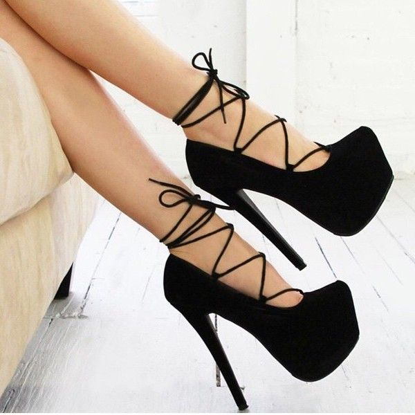 Killer Heels - 6 inch Heels Black Strappy Platform High Heels ...