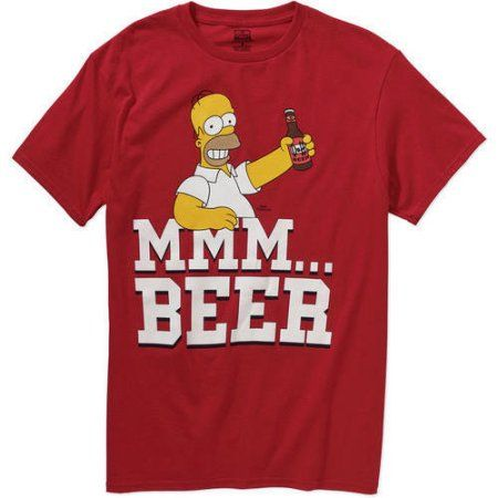 bc7d4aa35 Simpsons Homer Mmm Beer Men's Graphic Tee, Size: Medium, Red ...
