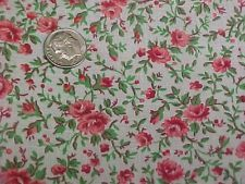 """Vintage Antique Cotton Quilt Doll Fabric Print 20s Remnant Red Pink Roses 22x33"""""""